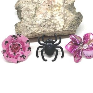 Adjustable Rings Pink Barbie Spider Abalone Shell